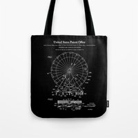 Amusement Ride Patent - Black Tote Bag