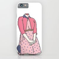 iPhone Cases featuring Unheaded Pixel Girl by Azmi Kamarullah