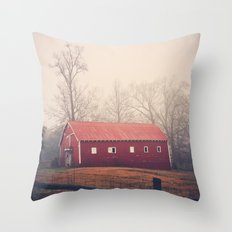 Little Red Barn in the Fog Throw Pillow