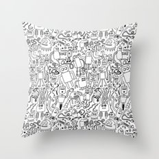Infinity Robots Black & White Throw Pillow