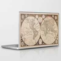 world map Laptop & iPad Skins featuring World Map by Le petit Archiviste