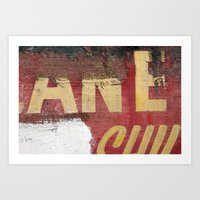 Yellow Letters On Red Art Print