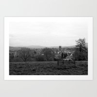 Bench over the Town Art Print