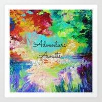 ADVENTURE AWAITS Wanderlust Typography Explore Summer Nature Rainbow Abstract Fine Art Painting Art Print