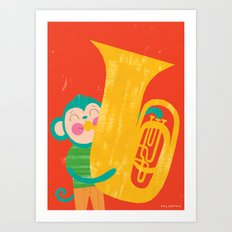 Tuba Monkey Art Print
