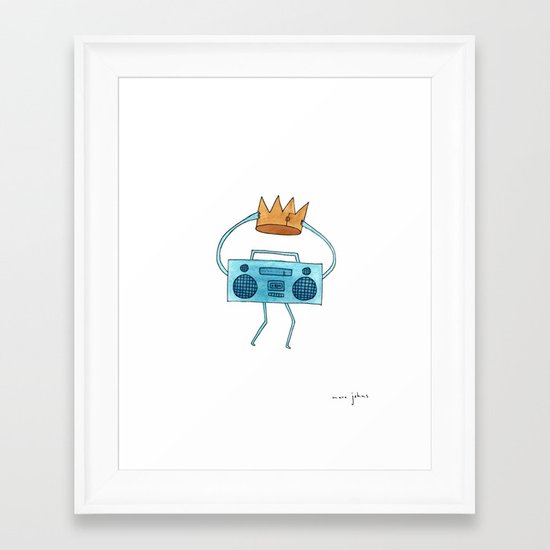 boombox holding a paper crown Framed Art Print