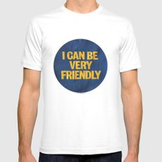 I can be Very Friendly Vintage print  SMALL Mens Fitted Tee White