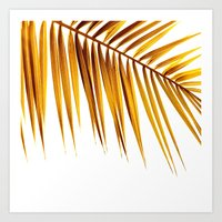 golden palm leaf II Art Print