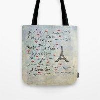 Paris Amour Valentines Design  Tote Bag