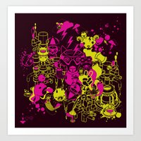 Dream Factory Pink and Yellow Art Print