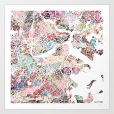 Boston map flowers Art Print