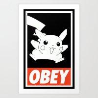OBEY Picachu Art Print