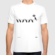 WTF? Bird White SMALL Mens Fitted Tee