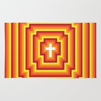 Area & Throw Rug featuring Technicolour Cross - Orange by Stefan Trudeau
