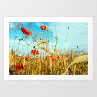 Lying in the cornfield, let your soul Art Print
