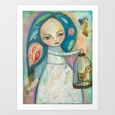 Free to fly - girl and birds Art Print