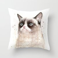 Grumpy Watercolor Cat II Throw Pillow
