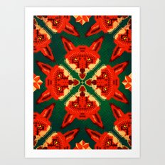 Fox Cross geometric pattern Art Print