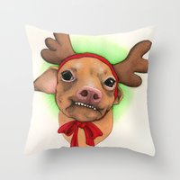 Chihuahua With Antlers -… Throw Pillow