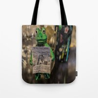 Froggy Reads the Wall Street Journal Tote Bag