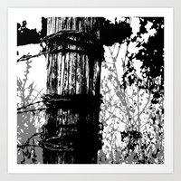 Barbed Wire Fence Post B… Art Print