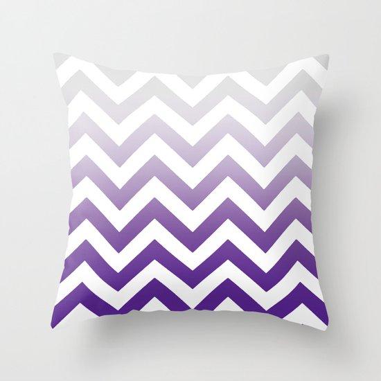 Purple And Lime Green Throw Pillows : PURPLE FADE TO GREY CHEVRON Throw Pillow by Monika Strigel Society6