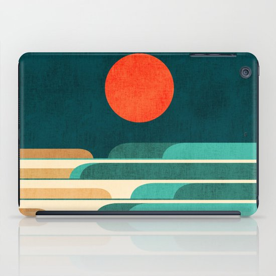 Chasing wave under the red moon iPad Case