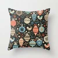 Festive Folk Charms Throw Pillow
