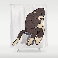 Sock Monkey Thinking Shower Curtain
