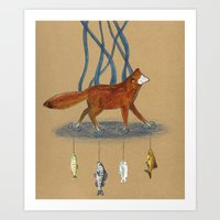 Fox and Fish Art Print