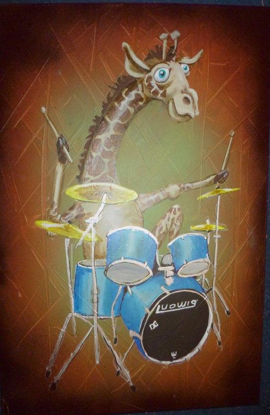Giraffe Playing Drums Art Print