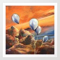 Balloons in the Sunset Art Print