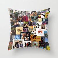 Classic Rock And Roll Albums Collage Throw Pillow