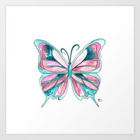 Pink And Blue Watercolor… Art Print