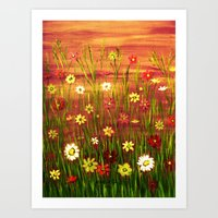 Flowers in the sunrise Art Print
