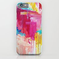 iPhone & iPod Case featuring ELATED - Beautiful Bright Colorful Modern Abstract Painting Wild Rainbow Pastel Pink Color by EbiEmporium