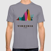 Virginia State Map Moder… Mens Fitted Tee Slate SMALL