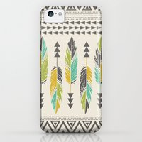 iPhone 5c Cases featuring Painted Feathers-Cream by Bohemian Gypsy Jane