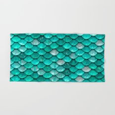 light turquoise sparkling scales II Hand & Bath Towel