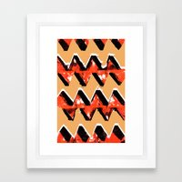 Orange and Black Zig Zag Pattern Print Framed Art Print