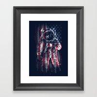 Astronaut Flag Framed Art Print