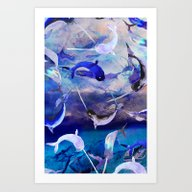 Art Print featuring Ocean Narwhal  by Nikkistrange
