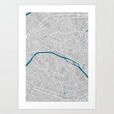 Paris city map grey colour Art Print