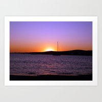 Sunset Sail, Paros Island, Greece Art Print