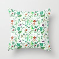 flowers watercolor Throw Pillow