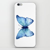 Blue Butterfly Watercolor iPhone & iPod Skin