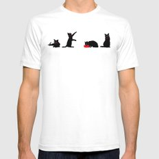 Cats Black on White Mens Fitted Tee SMALL White