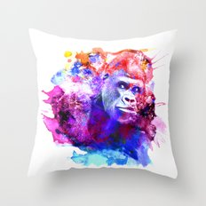 Gorillas are some of the most powerful and striking animals Throw Pillow