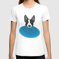 Border Collie - Disc Dog 2 Womens Fitted Tee White SMALL