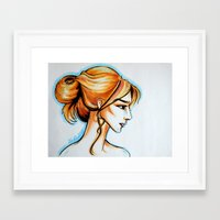 blonde girl Framed Art Print